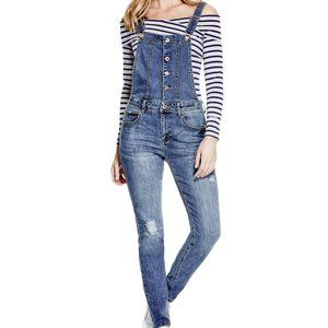 GUESS Blue Denim Button Down Distressed Overalls